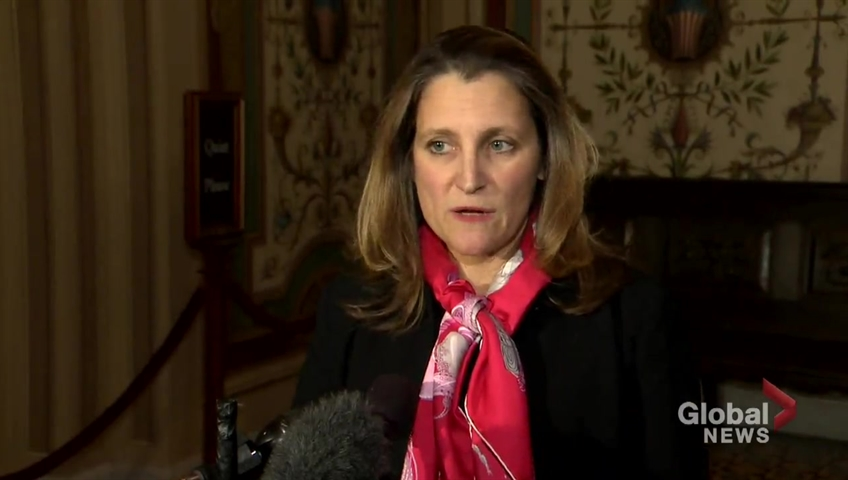 Click to play video 'Freeland won't comment on lawsuit by Canadian diplomats in Cuba against Ottawa over mysterious health issues'