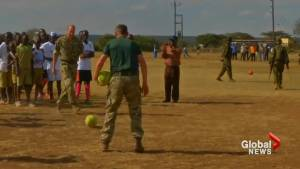 Prince William plays soccer with youth in Kenya