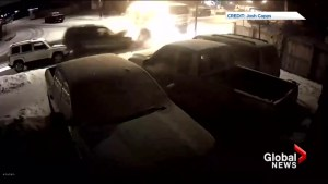 Video captures City of Calgary sanding truck crashing into parked vehicles