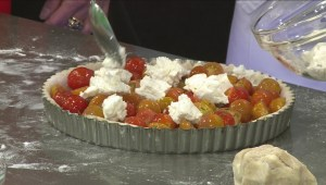 Making a Tomato Tart ahead of 'Thanks for Giving' campaign