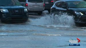 Jasper Avenue sees flooding, power outages on Wednesday