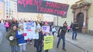 Women march for their rights in Frankfurt