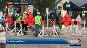 Crews work to address Jasper Avenue flooding
