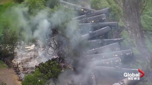 Aerial footage shows train derailment as severe weather pummels Fort Worth, Texas
