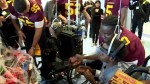 Concordia Stingers football team visits the Montreal Shriners Hospital