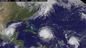 Satellite images shows three hurricanes churning away in Atlantic