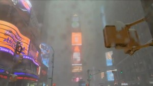 New York's iconic Times Square blanketed in snow