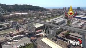Aerial footage shows scene of bridge collapse in Italy (01:40)