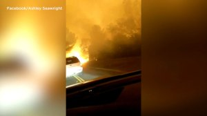 Footage shows driver escaping Northern California wildfire