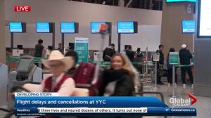 Multiple flight delays and cancellations at YYC