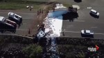 Semi-truck filled with paint overturns, 'painting' the entire highway