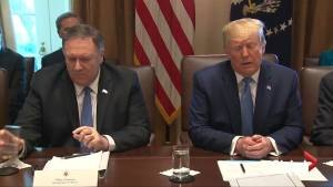President Trump comments on U.S. relations with North Korea, Iran
