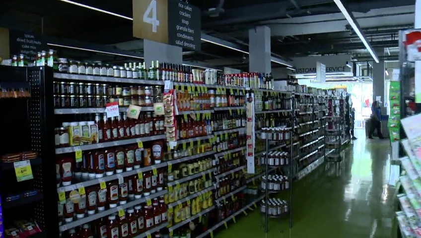 Dimmed grocery store