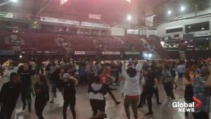 Over 1,200 fans cheered at the Barrie Molson Centre as the Toronto Raptors stormed to victory