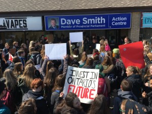 Peterborough high school students protest changes to education