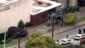 Aerial view of Pittsburgh synagogue shooting scene