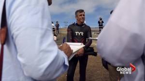 Swimmer begins record Pacific Ocean crossing in effort to expose plastics in world's waters