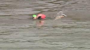 Athletes race through Edmonton river valley at inaugural SwimRun race