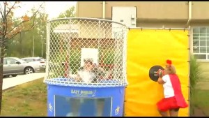 Keri Ferguson gets dunked in support of the Peterborough Humane Society