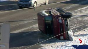 Calgarians deal with tricky roads to begin the New Year