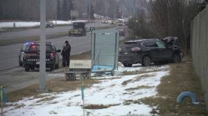 2 people hurt after vehicle drives into bus shelter: EMS