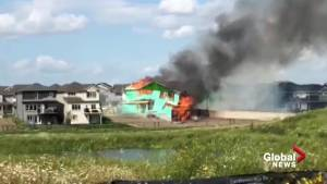 Under-construction home in west Edmonton goes up in flames