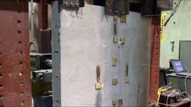 A concrete spray that keeps walls from crumbling in a quake is being