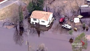 Aerials show extent of flooding in Bracebridge, Ontario