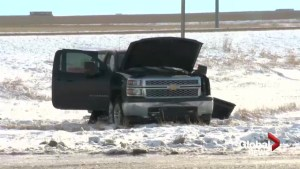Crash involving stolen truck sends 5 people to hospital: Coaldale RCMP