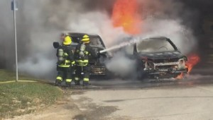 Car fire caught on camera in St James Wednesday