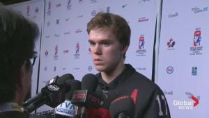 Team Canada's Connor McDavid talks 5-3 win over USA