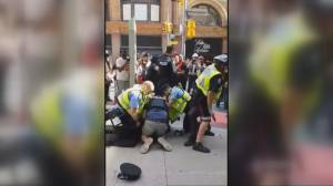 Dramatic suspect take down following shooting near Raptors parade in downtown Toronto