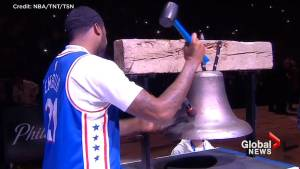 Hours after release from prison, rapper Meek Mill rings ceremonial bell before Philadelphia 76ers game