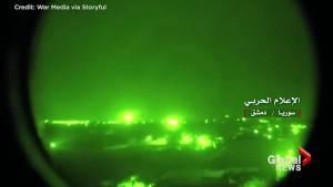 Night vision cameras capture Israeli missile strike into Syria