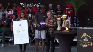 Raptors victory parade: Team receives key to the city of Toronto