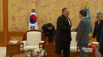 Mike Pompeo greeted by South Korean president and foreign minister