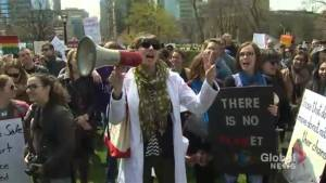 Toronto science supporters gather at Queens Park in defence of science