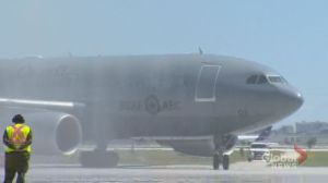 Members of the RCAF returned to Winnipeg Tuesday after a tour in service to the Queen