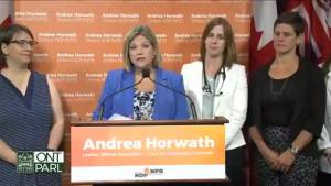 Horwath, health care workers ask PC government to stop repeal of sex-ed curriculum (01:06)