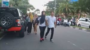 Residents rush out to streets in Indonesia community after 7.3 magnitude quake