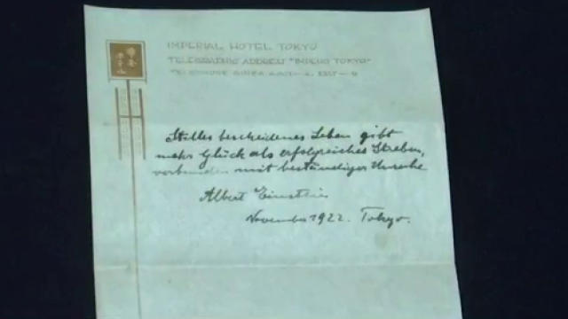 Albert Einstein's theory of happiness note sells for $1.5M