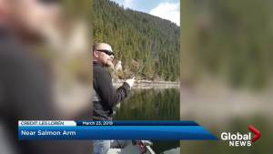 Shuswap fishermen film what they believe to be the Shuswaggi