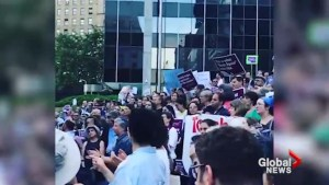 Protest against Trump immigration policies outside Manhattan ICE offices