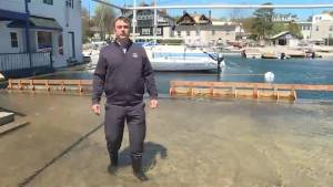 Water levels in Lake Ontario continue to rise, affecting the Kingston Yacht Club – partially under water