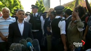London mayor heckled by angry residents during visit to burnt tower block
