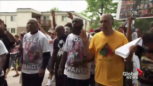 Protesters mark one-year anniversary of the death of Michael Brown