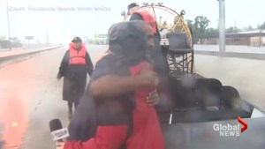 TV news crew helps rescue stranded truck driver during Tropical Storm Harvey