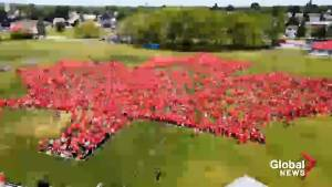 Guinness World Record for largest human maple leaf set in Trenton