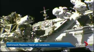 "Astronauts replace ""hand"" on Canadarm"