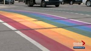 Rainbow crosswalk damaged in Saskatoon
